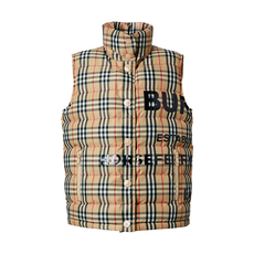 Burberry Horseferry Print Vintage Check Down Vest Archive Beige