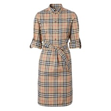 Burberry Vintage Check Stretch Shirt Dress Archive Beige