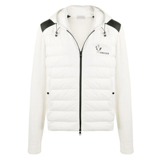 Moncler Printed Logo Panelled Down Jacket White