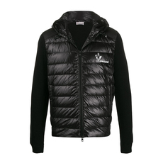Moncler Printed Logo Panelled Down Jacket Black