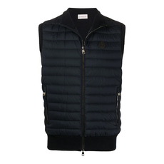 Moncler Logo Patch Puffer Down Vest Dark Blue