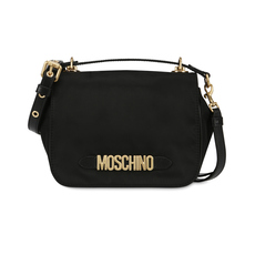 Moschino Galvanic Lettering Logo Shoulder Bag Black/Gold