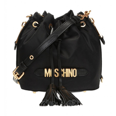 Moschino Galvanic Lettering Logo Bucket Bag Black/Gold