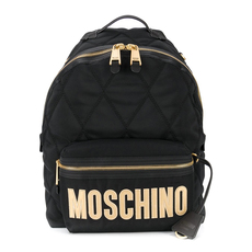 Moschino Large Quilted Logo Backpack Black/Gold