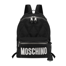 Moschino Large Quilted Logo Backpack Black/Sliver