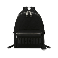 Moschino Large Quilted Logo Backpack Black/Black