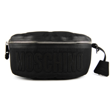Moschino Large Quilted Logo Waist Bag Black/Black
