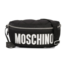 Moschino Large Quilted Logo Waist Bag Black/Sliver