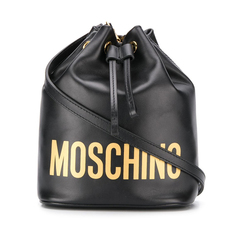 Moschino Logo Bucket Bag Black/Gold