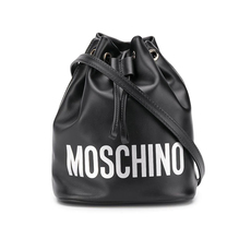 Moschino Logo Bucket Bag Black/White