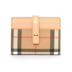Burberry Vintage Check E-Canvas Folding Card Holder Beige