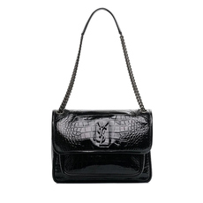 Yves Saint Laurent Niki Medium Crocodile-Embossed Shoulder Bag Black