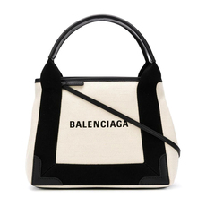 Balenciaga Navy Cabas Xs Shoulder Bag Natural/Black