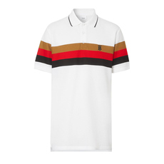Burberry Monogram Motif Striped Polo Tee White