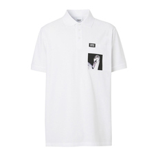 Burberry Swan Print Polo Tee White