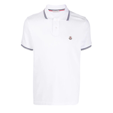 Moncler Piqué 40/2 Cotton Polo Tee White
