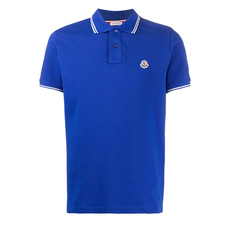Moncler Piqué 40/2 Cotton Polo Tee Blue