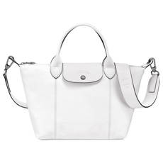 Longchamp Small Le Pliage Cuir Crossbody Bag White