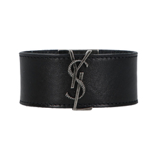 Yves Saint Laurent Monogram Plaque Bracelet Black