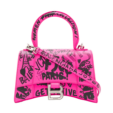 Balenciaga Hourglass Xs Top Shoulder Bag Acid Fuchsia/ Black