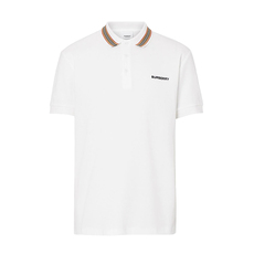 Burberry Icon Stripe Detail Cotton Polo Tee White