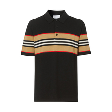 Burberry Icon Stripe Detail Polo Tee Black