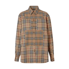 Burberry Contrast Check Stretch Shirt Archive Beige