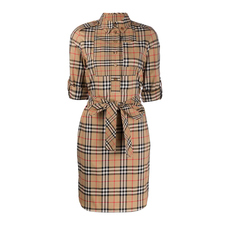 Burberry Logo Appliqué Check Tie-Waist Dress Archive Beige