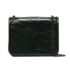 Yves Saint Laurent Niki Crinkled Vintage Leather Crossbody Bag Black/Black
