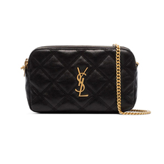 Yves Saint Laurent Becky Double-Zip Crossbody Bag Black/Gold