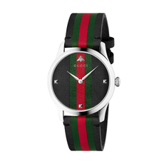Gucci Green Red Striped G-Timeless 38mm Casual Watch in Red,Green/Silver