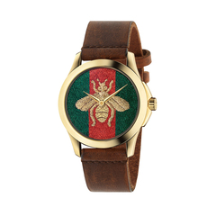Gucci Bee G-Timeless 38mm Casual Watch in Brown/Silver