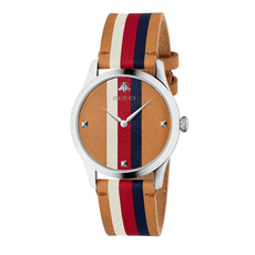 Gucci Striped G-Timeless 38mm Casual Watch in Brown/Silver