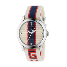 Gucci Orologio G-Timeless 38mm Casual Watch in White,Blue/Silver