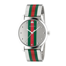 Gucci House Web Stripe G-Timeless 42mm Casual Watch in Silver/Silver