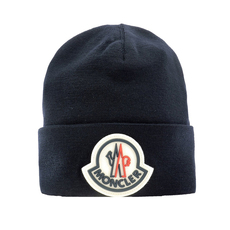 Moncler Logo Patch Beanie Dark Blue