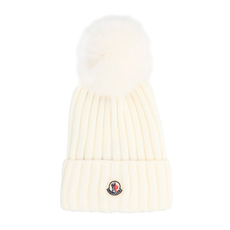 Moncler Bobble Top Beanie White