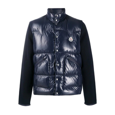 Moncler Logo-Patch Padded-Front Down Jacket Dark Blue