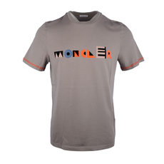 Moncler Multicoloured Lettering Printed T-Shirt Brown
