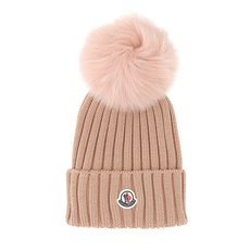 Moncler Bobble Top Beanie Pink