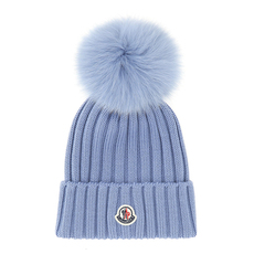 Moncler Bobble Top Beanie Blue