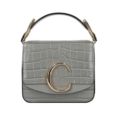 Chloe Mini Chloé C Crocodile Embossed Crossbody Bag Stormy Grey