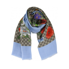 Gucci GG Flora Scarf Light Blue