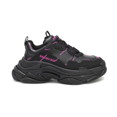 Balenciaga Allover Logo Triple S Women's Sneakers Black/Pink
