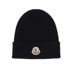 Moncler Ribbed Knit Logo Beanie Dark Blue
