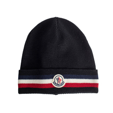Moncler Ribbed Tricolour Base Beanie Black