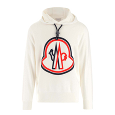 Moncler Embroidered Logo Patch Hoodie White