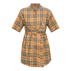 Burberry Zebra Appliqué Vintage Check Shirt Dress Archive Beige