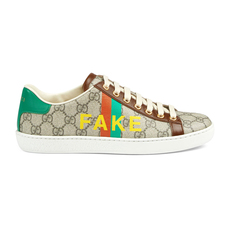 "Gucci ""Fake/Not"" Print Women's Sneakers Beige/Ebony"