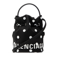 Balenciaga Wheel Xs Drawstring Bucket Bag Black/White